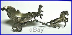 Antique Silverplate Master Salt Cherub Horse Drawn Carriage Art Noveau