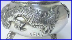 Antique Solid Silver Chinese Export Salt Cellar / Dish c1900 (41g)