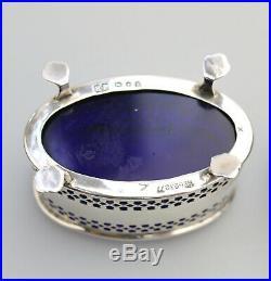 Antique Solid Silver Quality pair pierced Salt Cellar with cobalt liners C. 1929