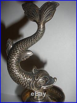 Antique Spain Fancy Figural Dolphin Sterling Silver Double Salts