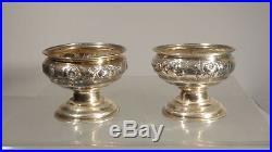 Antique Standard Coin Silver PLK Salt Cellars Peter L. Krider Philadelphia
