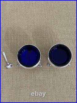 Antique Sterling Silver Cobalt Blue Glass Salt Cellars With Spoon