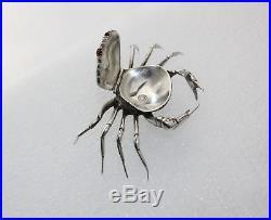 Antique Sterling Silver Crab Salt Cellar Hinged Lid Snuff Box Zodiac Cancer Sign