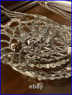 Antique Sterling Silver & Crystal Articulated Swan Salt Cellar