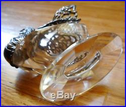 Antique Sterling Silver & Crystal CROWING ROOSTER Figural Salt Cellar Dip Swan