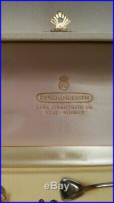 Antique Sterling Silver David Andersen / T. Olsen Norway Viking Salt Cellar Set