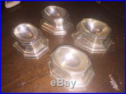 Antique Sterling Silver English Salt Trenchers Cellars Set 4 1892 T Bradbury