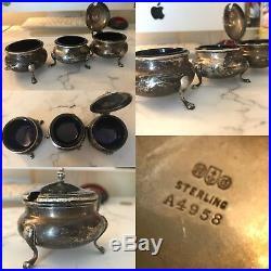 Antique Sterling Silver Gorham 2 Open Salts & Mustard Pot Set Cobalt Glass