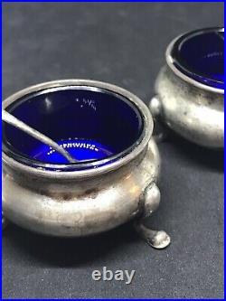 Antique Sterling Silver Gorham Open Salts Cobalt Glass & Salt Spoons Pair