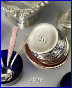 Antique Sterling Silver, Guilloche Enamel, Cobalt & Plated Salt Cellars + Spoons