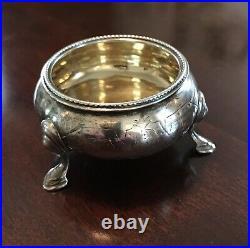 Antique Sterling Silver Master Salt Cellar Tripod Footed Hooves Hallmarks