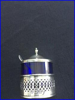 Antique Sterling Silver Salt Cellar with S Monogrammed Spoon. Blue Cobalt Glass