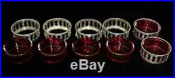 Antique Sterling Silver Salt Cellars Cranberry Glass Insert Org. Boxed Set 6 R&W