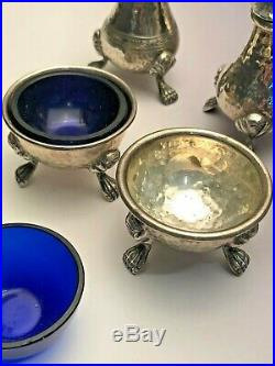 Antique Sterling Silver Salt Shaker and Cellar Set by Schofield, 6 pieces