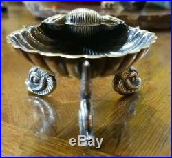 Antique Sterling silver 925 G Shell Dolphin Feet Salt Dip Dish 1800's Hillard