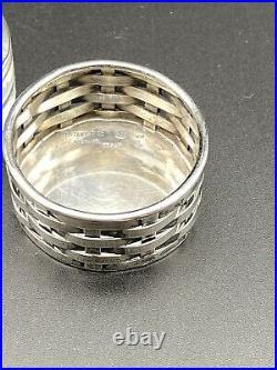 Antique TIFFANY STERLING Silver Italy Basket Weave SALT CELLAR, LINER & SPOON D
