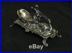 Antique Victorian. 800 Silver Ftd Swan Boat w Putti c 1890 Novelty Salt Cellar