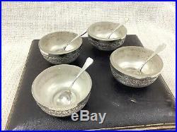 Antique Victorian Salt Cellars Table Cruet Bowl Silver Plated Repousse Boxed Set