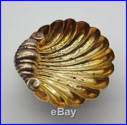 Antique Victorian Solid Silver Seashell Salt Bowls Cellars 1900 Mitchell Bosley