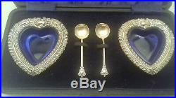 Antique Victorian Sterling Silver Heart Salt Cellars 1897 Nathan Hayes + Spoons