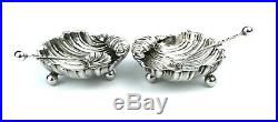 Antique Victorian Sterling Silver Scallop Shell Salt Cellars & Spoons Pair Cased