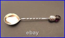 Antique Vintage Silver Salt Cellar Spoon Thistle Amethyst 1929 England RARE