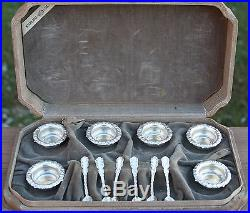 Antique WHITING Sterling Silver REPOUSSE Open SALT CELLARS & SPOONS Fitted Case