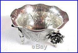 Antique Wang Hing Chinese Export Silver Floral Motif Salt Cellar