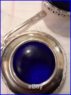Antique Webster Sterling Silver Cobalt Glass 6 Piece Set Salt Cellars Spoons