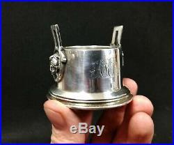 Antique Wood Hughes Sterling Silver Master Salt Dish Egyptian Revival Medallion