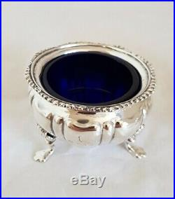 Antique sterling silver salt cellars & spoons Birmingham 1903. Broardman, Glossop