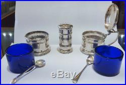 Art Deco 3-piece Solid Sterling Silver Cruet Set Birmingham hallmarked