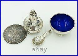Art Deco Sterling Silver Enamel Georg Jensen Open Salt Cellar Pepper Shaker Set