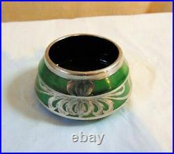 Art Nouveau EAMCO Electrolytic Art Metal Co. Pottery Salt Cellar Silver Overlay