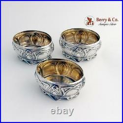 Art Nouveau Jugendstil 3 Salt Cellars German 800 Silver