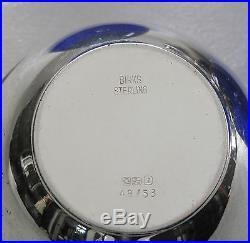 BIRKS STERLING SILVER 2 CAVIAR / MUSTARD BOWL COBALT BLUE LINER 140 gr. $576