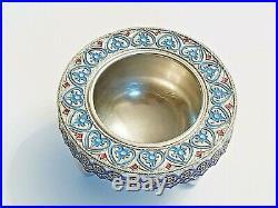 Beautiful 19C Russian Silver Enamel Master Salt Cellar Khlebnikov
