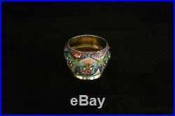 Beautiful 84 Silver Russian Colorful Shaded Enamel Open Salt Cellar