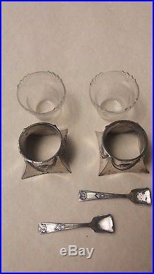 Beautiful Jugendstil / Art Nouveau WMF PAIR Open Salt Cellar with Spoons