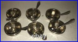 Beautiful Set (x6) Sterling Silver Salt Cellars & Spoons Set of Six 12Pc Total