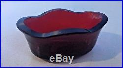 Black Starr & Frost Sterling Silver Red Cobalt Ruby Glass Lion Head Salt Cellars