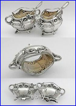 Boxed French Silver Open Salt Cellars and Salt Spoons