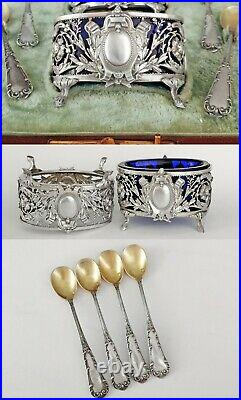 Boxed French Sterling Silver Salt Cellars with Spoons Cobalt Glass Inserts