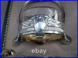 Boxed Pair German 800 Silver Art Nouveau Salts With Matching Spoons
