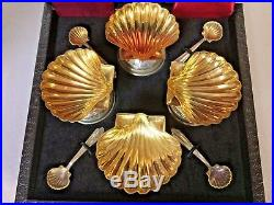 Boxed Set of 4 English Sterling Gold Wash Shell Form Salt Cellars with Spoons