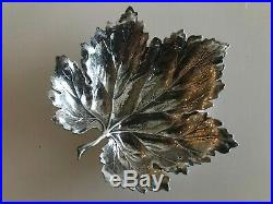 Buccellati Sterling Silver Grape Leaf 3 Tiny Dish Salt Cellar Butter Pat Vintag