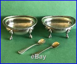Buccellati Sterling Silver Pair Salt Cellars Bowls With Spoons