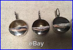 Carl Poul Petersen Montreal Canadian Sterling Silver Set 4 Peapod Salt Cellars