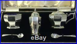 Cased Vintage Sterling Silver Cruet Set (Mustard/Pepper Pots & Salt Cellar)1934