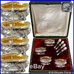 Coignet French Sterling Silver 18k Gold 4 Salt Cellars, Spoons, Original Box